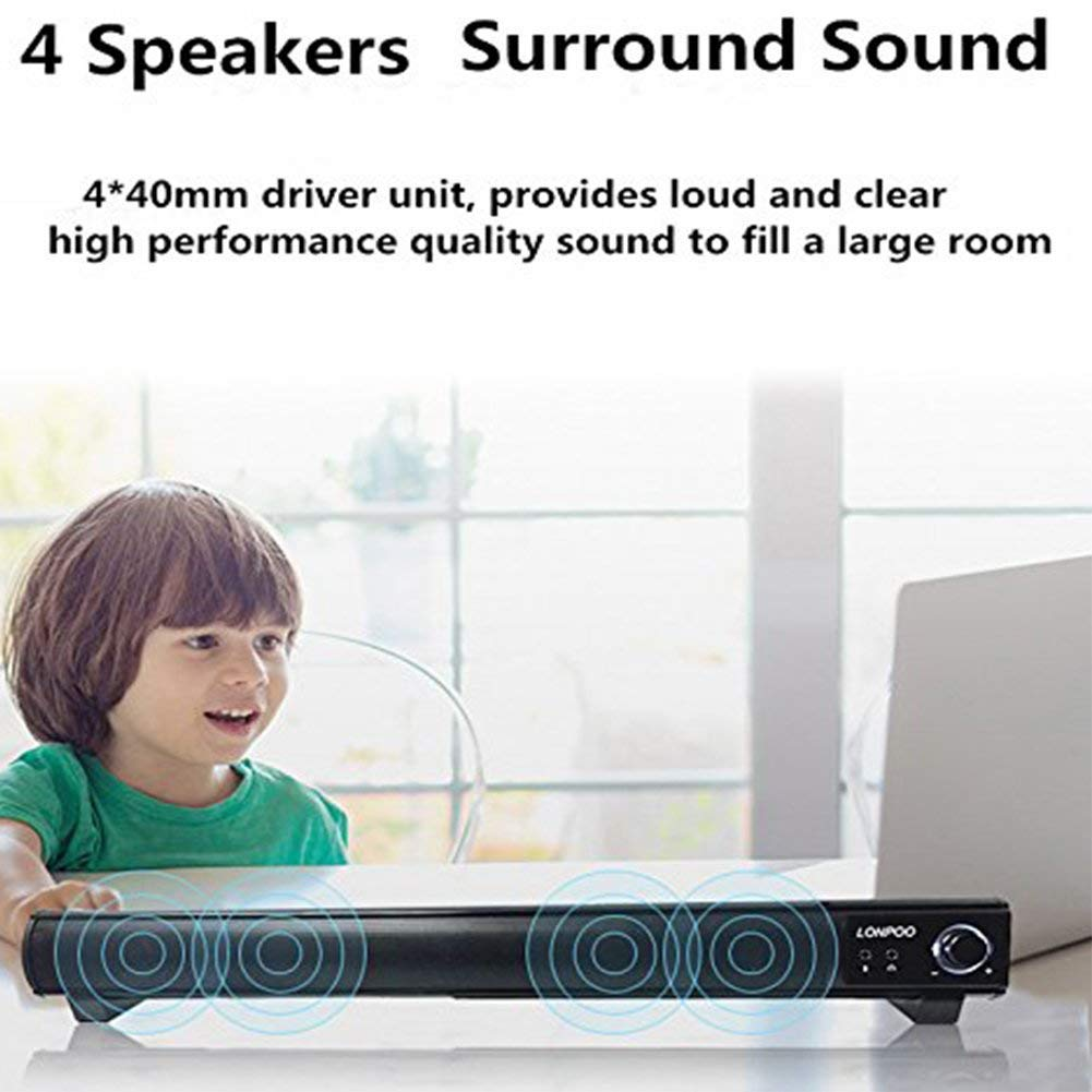 Perfect for Indoor Outdoor Use Soundbar LONPOO 20-Inch Speaker for TV Sound bar 2.0 Channel Wired Connection with Subwoofers