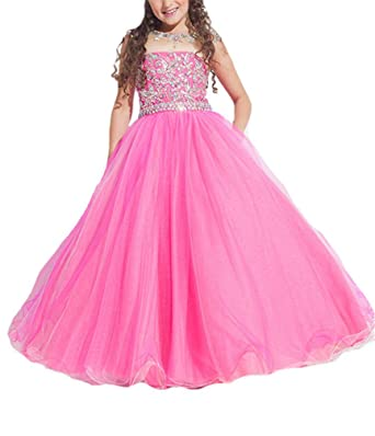 Amazon.com: SweetFaterk Big Girls\' Crystal Floor Length Party Gowns ...