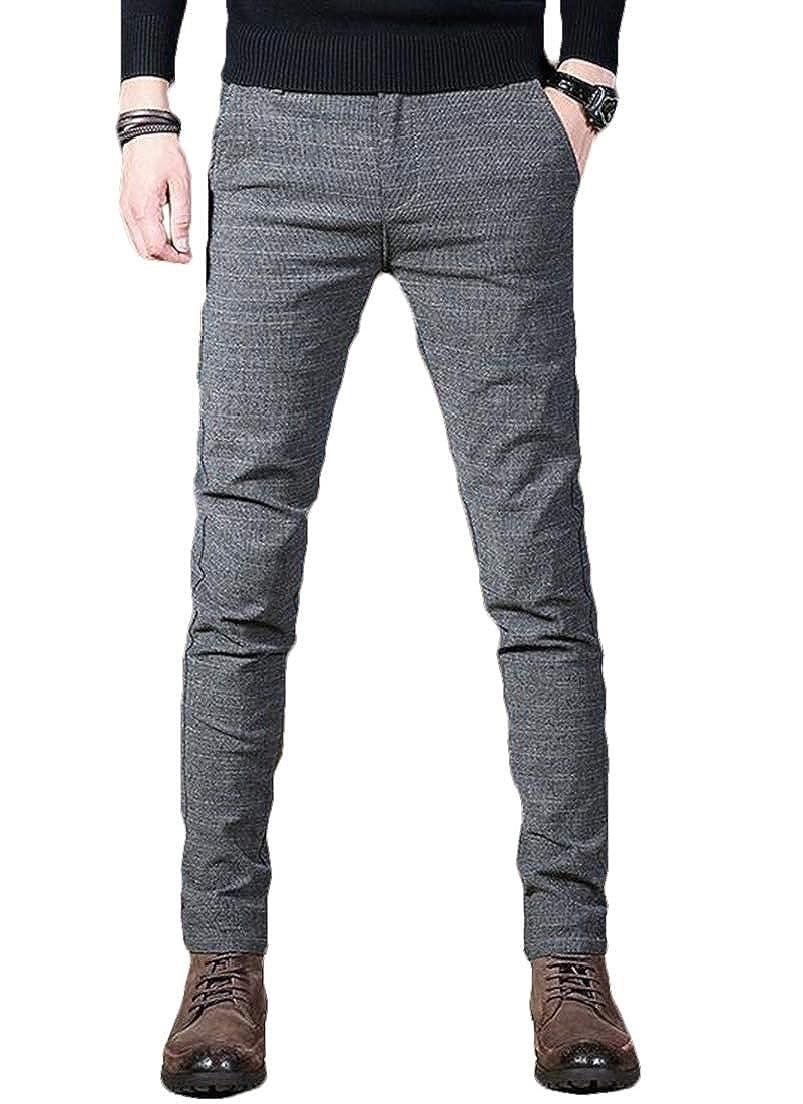 CRYYU Men Plus Size Thicken Slim Fit Solid High Waist Cotton Linen Pocket Pants