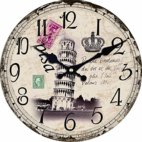 Antique Paris Eiffel Tower Wall Clock Gift for Girls Beautiful Design Silent 14 inch Wood Clock for Home (Walnut Wine Tower)
