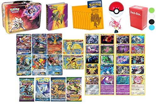 Pokemon Cards MEGA POWER Premium Collection - 2 GX, 2 Mega EX, 2 EX, 2 Break, 2 Sun and Moon Series Boosters, 2 XY Boosters, 10 Legendary Rares, 10 Rares 120HP+, Mini Album, 65 Sleeves, & Deck Box by Assortmart