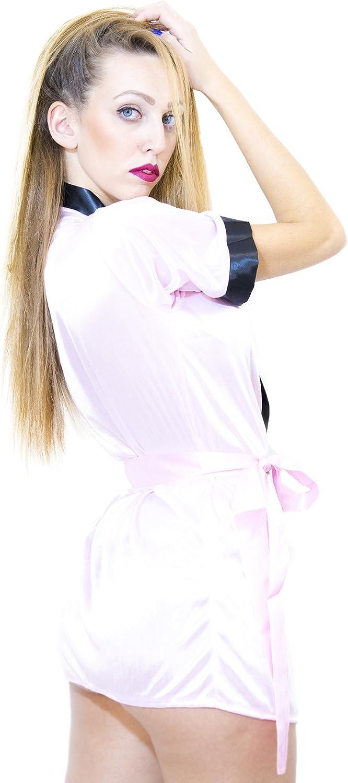 EGLEMTEK Vestaglia in Raso Donna Corta Pigiama Kimono Camicia da Notte con Cintura Taglia Unica