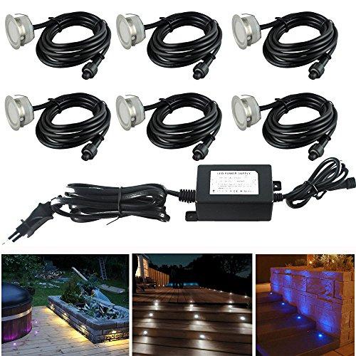 FVTLED Boden Einbauleuchten 6er Set Ø39.5mm Veränderbare Lichter RGB Treppen Küche Garten Terrasse Einbaustrahler IP67 Wasserdicht Außen Lampe
