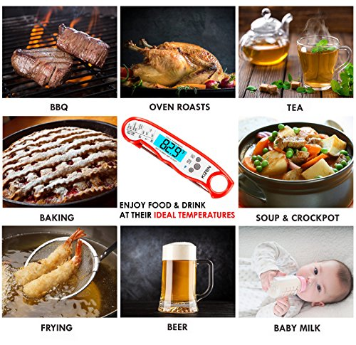 Instant Read Meat Thermometer - Best Waterproof Ultra Fast Thermometer with Backlight & Calibration. Kizen Digital Food Thermometer for Kitchen, Outdoor Cooking, BBQ, and Grill! (Red) by Kizen (Image #6)
