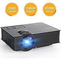 [Améliorée] Vidéoprojecteur Mini 2200 Lumens APEMAN Projecteur, Multimédia Retroprojecteur Portable LED, 45000 Heures Théâtre Domestique, pour Jeux Vidéo Famille et Amis Réunis, Entrées HDMI/USB/SD/AV