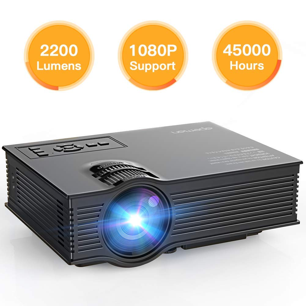 APEMAN Projector Upgraded Mini Portable Projector 2200 Lumens LED Full HD Video Home Theater Supports 1080p HDMI/VGA/USB/SD Card/AV Input Remote Control Video Game Chromecast for Family Entertainment