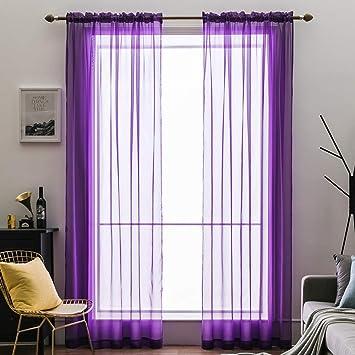 MIULEE 2 Panneaux Couleur Pure Rideaux De Fenêtre Transparents Lisse  Élégant Panneaux Voile De Fenêtre/Rideaux / Traitement pour Chambre Salon  Violet ...