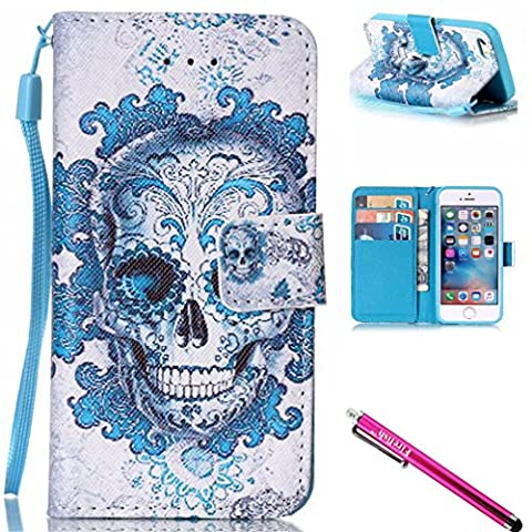 iPhone 5S Case, iPhone 5 Wallet Case, Firefish [Kickstand] [Shock Proof] Double Protective Case Flip Folio Slim Magnetic Cover with Wrist Strap for Apple iPhone (Flip Cover Iphone 5 Bling)