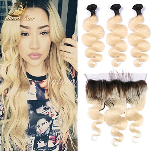 Brazilian T1b/613 Colored Two Tone 8A Hair Weave 3pcs With 134 Closure Blonde Virgin Hair Dark Roots Ombre 613 Human Hair (10 10 10 With 10 Inch)