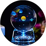 Zulux Solar System Balls - Crystal Ball for Kids with LED Lamp Base, Clear 80mm(3 inch) Glass Sphere for Kids Birthday Gifts,