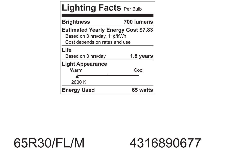 GE 20331-6-6 65 Watt Soft White Floodlight BR30 Light Bulb, 6-Pack, 610 lumens