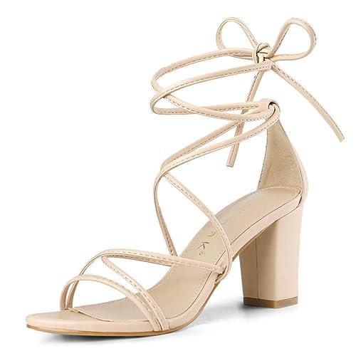 23c1bdeb5 Allegra K Women s Strappy Straps Lace Up Chunky Heel Beige Sandals - 6 ...