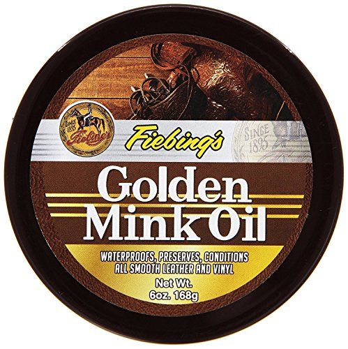 Fiebing's Golden Mink Oil Leather Preserver, 6 oz - Waterproofs, Preserves and Conditions Leather and Vinyl (Best Mink Oil For Leather Boots)