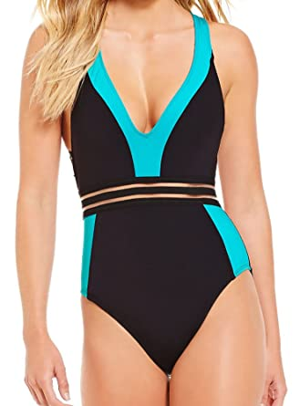 c938514d990 Image Unavailable. Image not available for. Color: Kenneth Cole New York  One Piece Swimsuit Racerback Strappy Cut Out Mesh Illusion Stripe ...