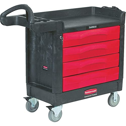 Rubbermaid Commercial Trademaster 4 Drawer Mobile Work Center, 43 L x 19 W x 29 H, Black Red FG451388BLA