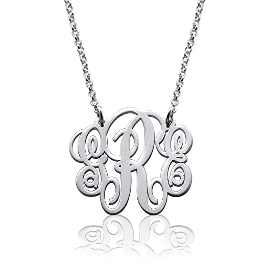 Amazon fancy 925 sterling silver personalized monogram necklace fancy 925 sterling silver personalized monogram necklace custom made pendant with any initial aloadofball Images