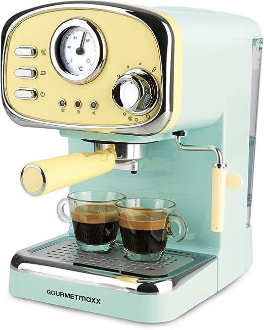 GOURMETmaxx Máquina de café expreso con colador eléctrico, pantalla analógica de temperatura, con calentador de tazas y vaporizador de leche (diseño retro, 1100 vatios): Amazon.es: Hogar