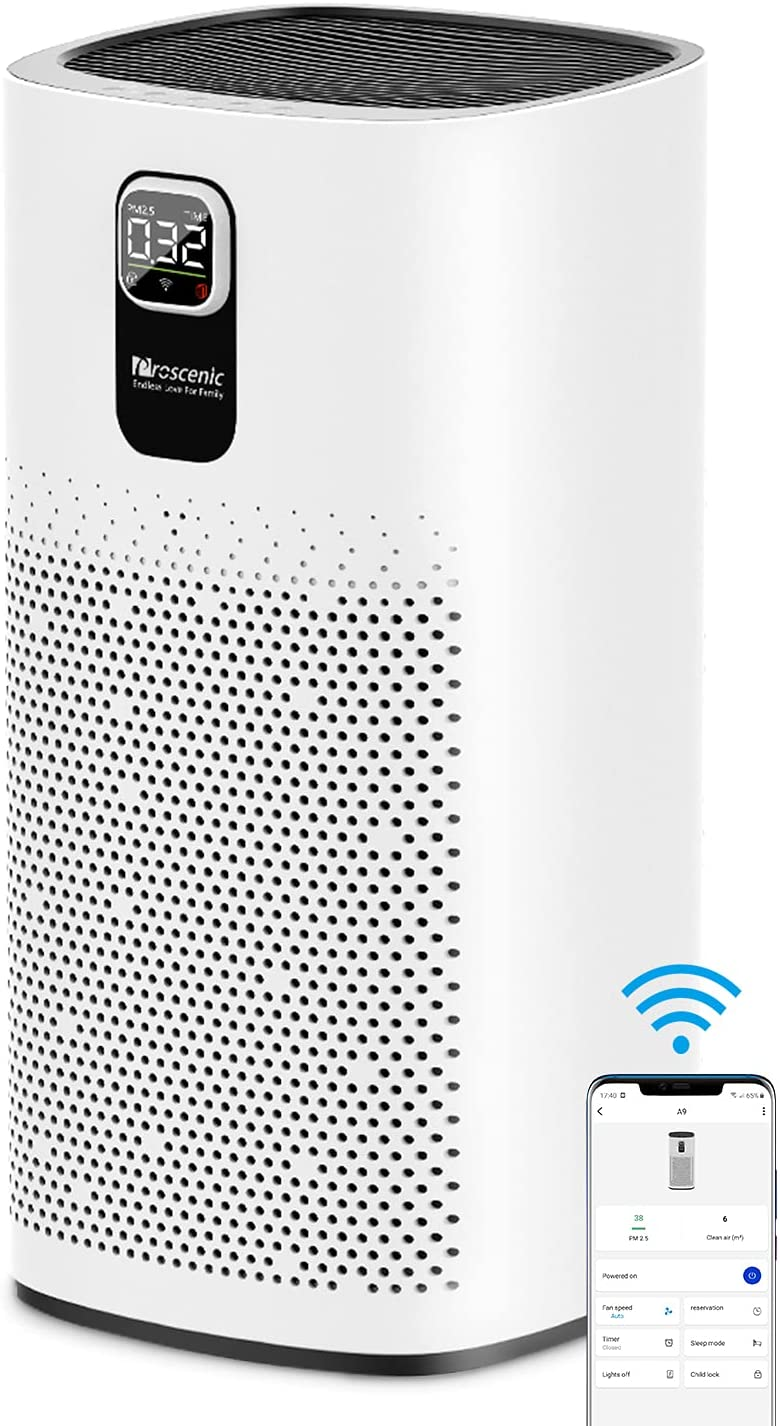 Proscenic Air Purifier A9, with H13 True HEPA Filter, WiFi Connected, Sleep Mode & LED Display, Remove 99.97% Dust, Smoke, Pollen, for Pets, Smokers, Air Cleaner for Home/Bedroom/ Office/Large Room