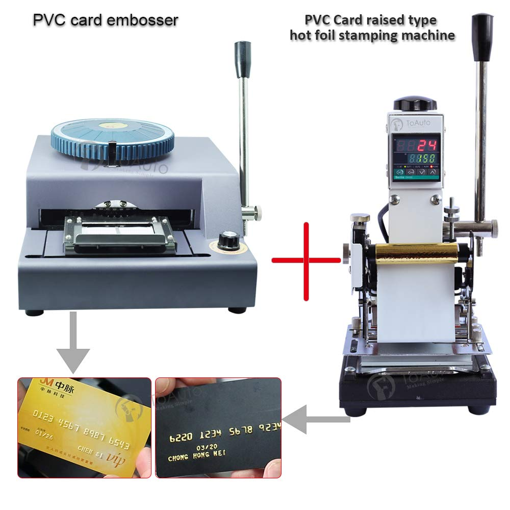 72 Characters Letters Manual Embosser + 110V Hot Foil Stamping Machine 6x9cm for Plastic Clud/Stroe/Gift VIP Magnetic Membership Card Braille Embossing by FASTTOBUY