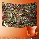 Nalahome Mandala Tapestry Wall Tapestry Bohemian Wall Hanging Doodles Style Art Bingo Excitement Checkers King Tambourine Vegas Wall Art Wall Decor Beach Tapestry(59W x 51.1L INCH)