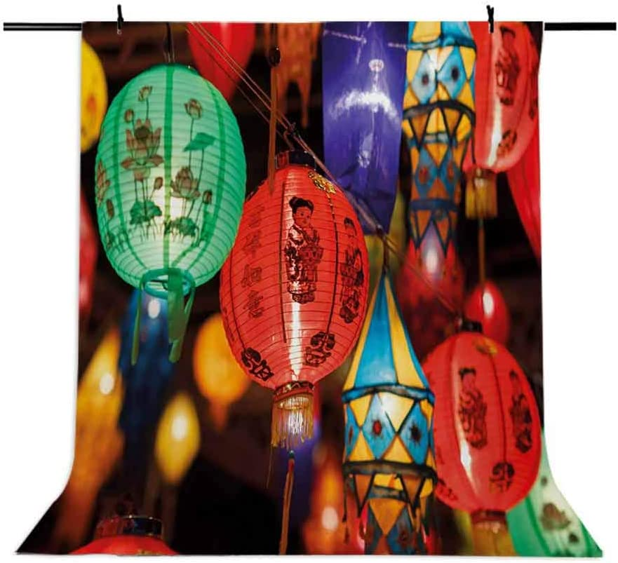 Lantern 10x15 FT Photography Backdrop First Night Festival in China Traditional Culture ity Carnival East Background for Kid Baby Boy Girl Artistic Portrait Photo Shoot Studio Props Video Drape Vinyl