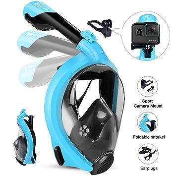 HENGBIRD Máscara de Buceo Integral Máscara de Esnórquel Anti-Vaho Anti-Fuga Gafas Cara Completa 180 ° Visible Apoyo Camara Deportiva (Blue L/XL): Amazon.es: ...