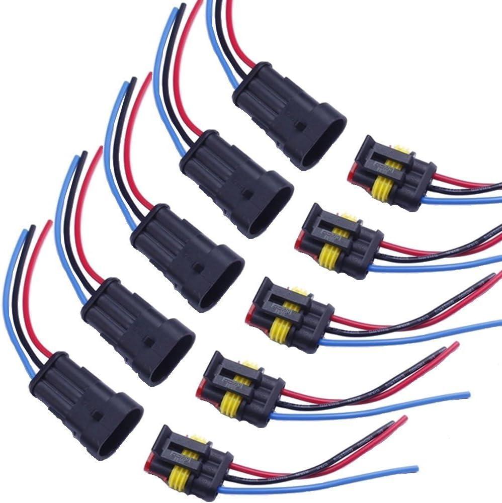 Mintice Trade 5 X 3 Polig Kabel Steckverbinder Stecker Wasserdicht Schnellverbinder Draht Elektrisch Ausrüstung Kfz Lkw Auto