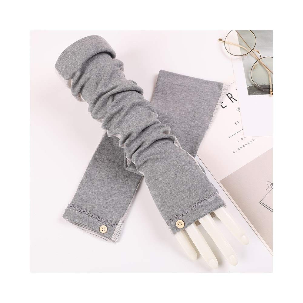 Women's UV Protection UPF50+ Cotton Long Arm Sleeve Outdoor Travel Sunscreen Gloves (Color : Gray-A, Size : One size-Two pairs) by RRMY-Working Gloves