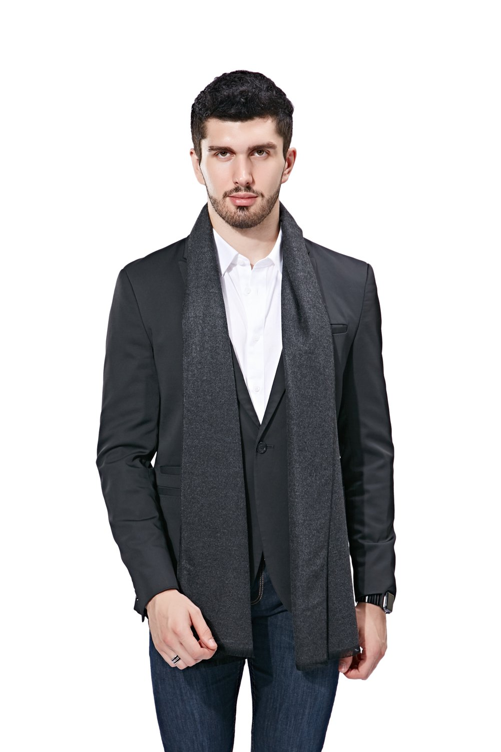 FULLRON Men Winter Scarf Long Cashmere Scarves, Grey Cotton Scarf for Men by FULLRON (Image #2)