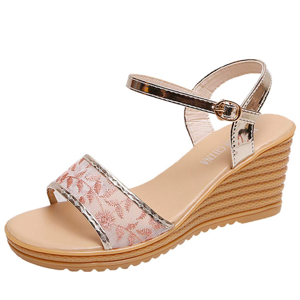 ZOMUSAR New! 2019 Women Peep Toe Breathable Beach Sandals Rome Buckle Strap Casual Wedges Shoes Gold