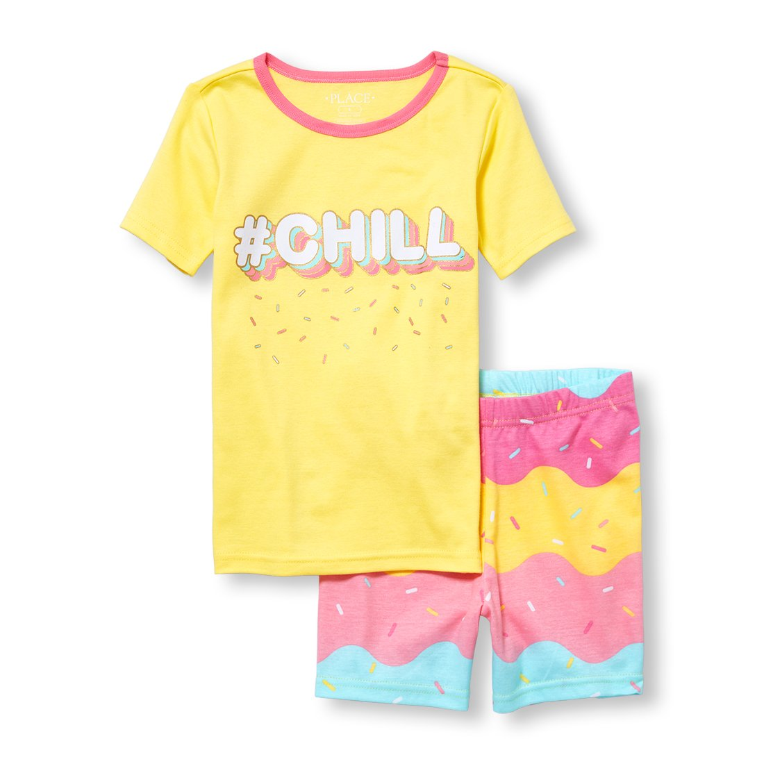 The Children's Place Big Girls' Top and Shorts Pajama Set, Hazy Daisy, 8