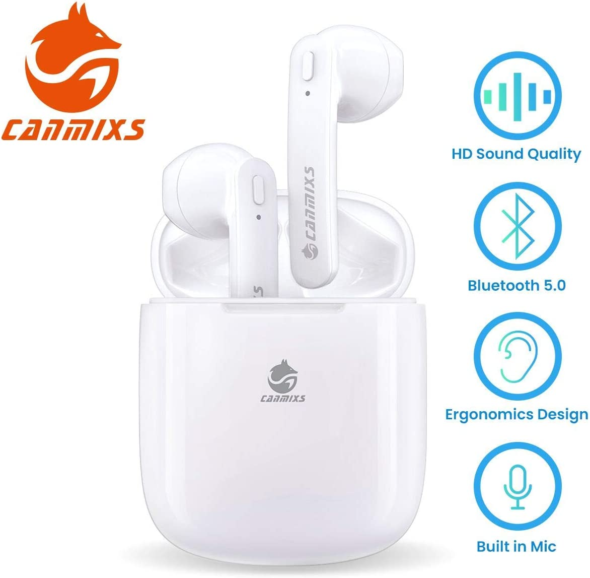 Canmixs True Wireless Earbuds,Gym Blue-Tooth Earphones for Running B15 TWS Wireless Earbuds Micro Earpiece with Charging Case Cordless in-Ear Stereo Headphones for iPhone Android