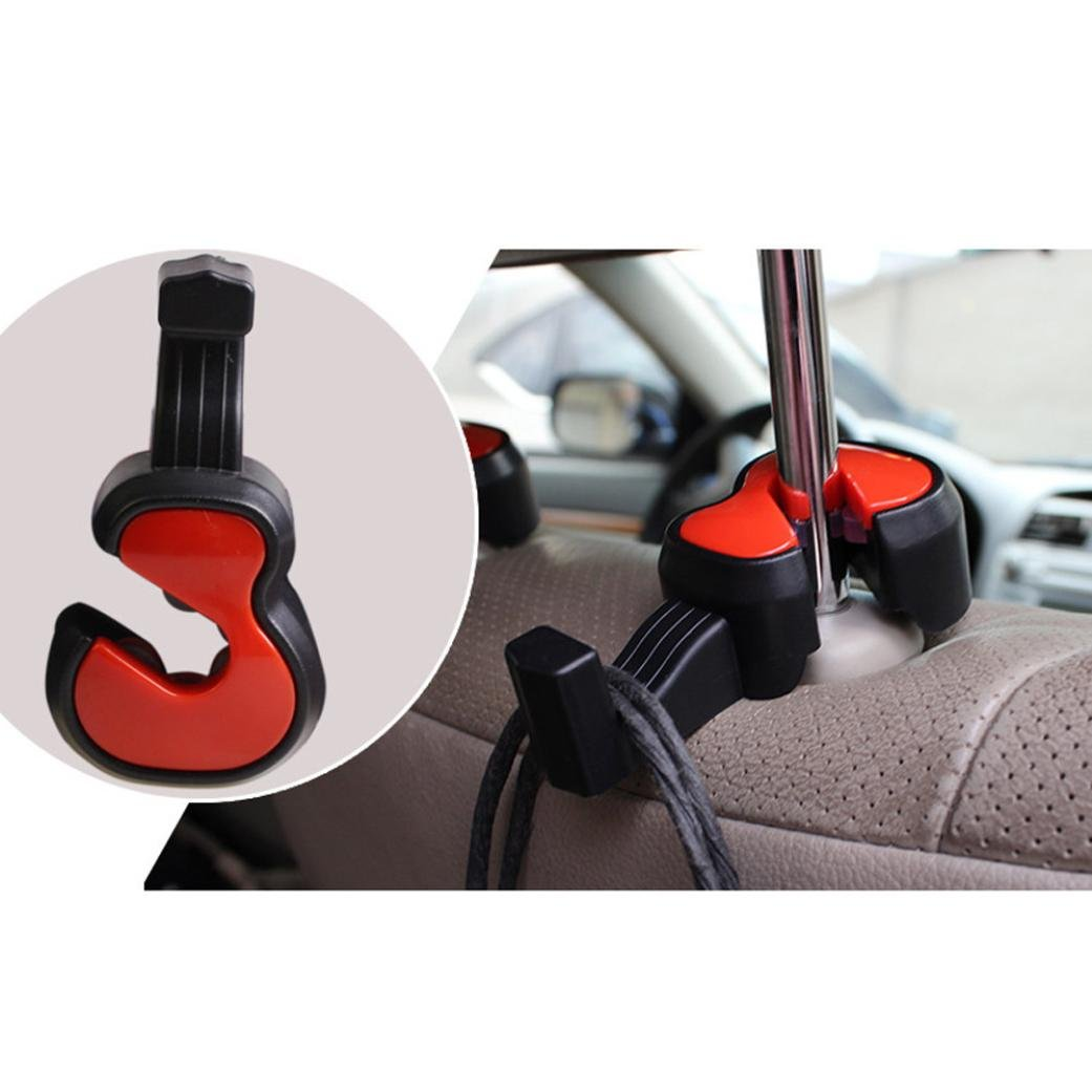 Auwer 2Pcs Cute Violin Shape Universal Car Vehicle Seat Back Headrest Hanger Holder Hook Portable for Bag Purse Cloth Grocery Coat Organizer (Red)