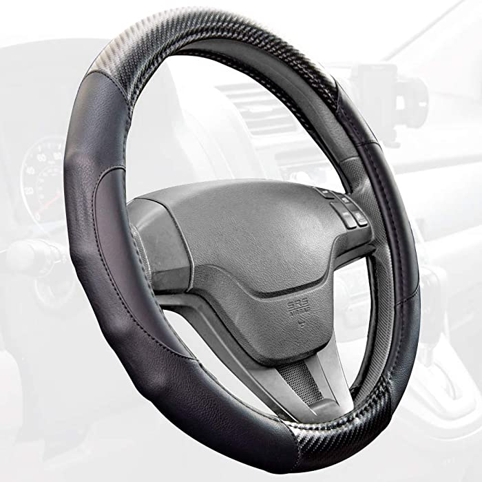 Motor Trend GripDrive Carbon Fiber Series - Steering Wheel Cover - Synthetic Leather Comfort Grip Handles (Black)