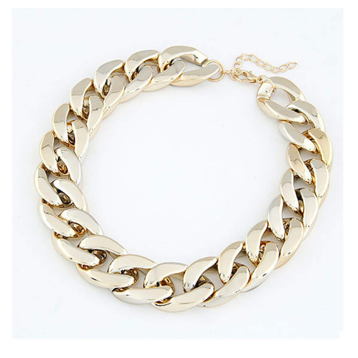 HUAMING Unisex Wild Thick Chain Choker Necklace Chain Hip Hop Gold Necklace Shiny Celebrity Domineering Sexy Style (Gold)