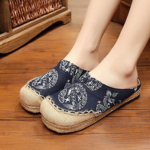Unisex zuecos Couples sandalias Mules lino transpirable chanclas punta cerrada Confort Zapatillas Pantuflas Casa Oficina Estilo chino Slipper zapatos verano ...