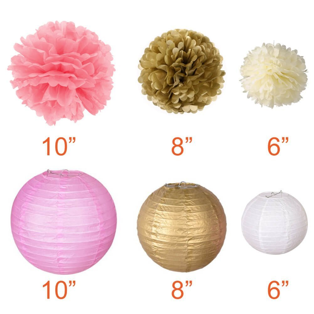 18 Pcs Teal Pink Birthday Themed Party Decorations XFunino Baby Shower Decorations Paper Lantern Decorative Tissue Paper Pom Pom Garland 11.8ft Gold Glitter Party Pack