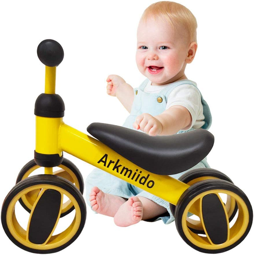 Arkmiido Bicicleta de Equilibrio para niños de 1 a 2 años, Marco de Acero al Carbono, Bicicleta de Entrenamiento para Caminar sin Pedal, Regalos de cumpleaños para niños y niñas