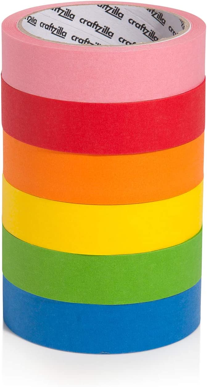 New: Craftzilla Colored Masking Tape - 6 Pack of 20 Yards x 1 inch Rainbow Color Craft Paper Tape - Colorful Teacher Tape for Art Lab Labeling & Classroom Decorations