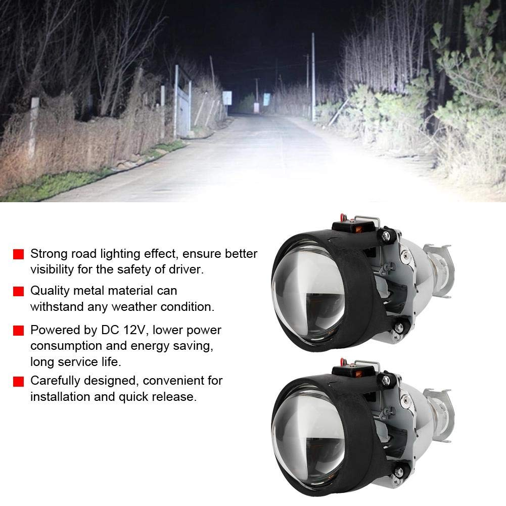 KIMISS 2.5 Inch 12V Car Headlight Assembly Kit Universal Metal Material Headlamp Projector Lens for H11