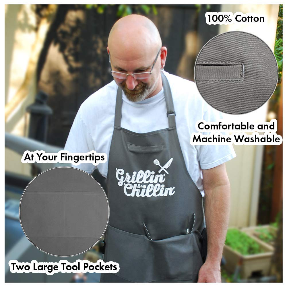 West End Warehouse Chef Apron for Men   Cooking Apron   Funny Apron   BBQ Apron   3 Pockets   Opener, Towel & Gift Box Included   Gray   100% Cotton   Durable Professional Quality by West End Warehouse (Image #7)