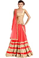Siyaram Creation Women's Net Anarkali Lehenga Choli (Cel-8_Pink_Free Size)