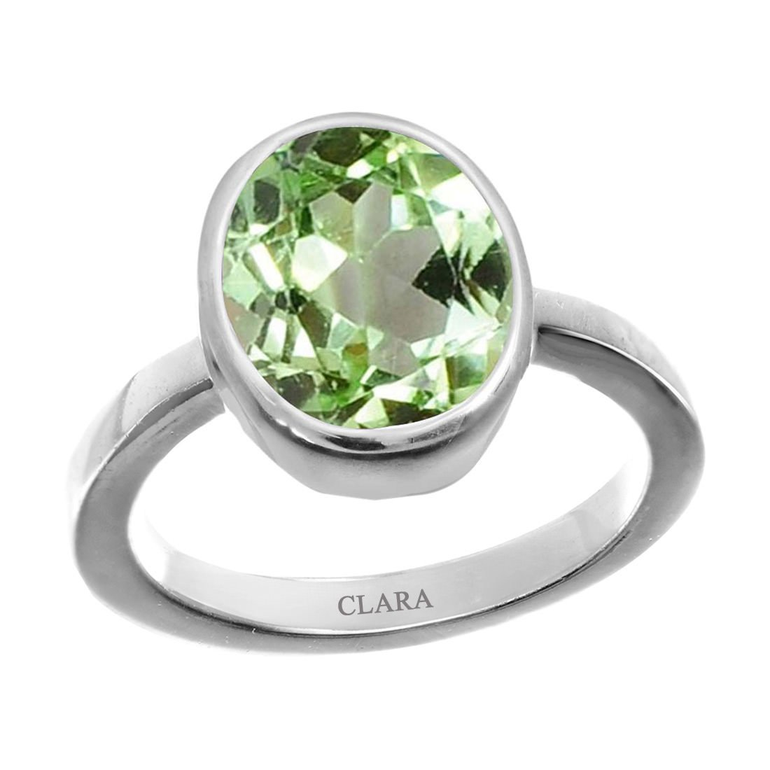 Clara Certified Peridot 8.3cts or 9.25ratti original stone Sterling Silver Astrological Ring for Men and Women