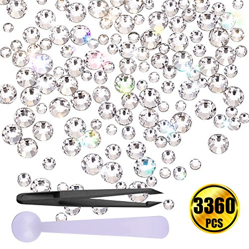 WXJ13 3360 Pieces Clear Flatback Rhinestones Flat back Crystals 6 Different Sizes with 1 Piece Tweezer and 1 Piece spoon 0.07' Tip