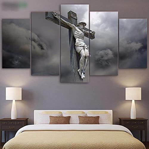 PEACOCK JEWELS Small Premium Quality Canvas Printed Wall Art Poster 5 Pieces 5 Pannel Wall Decor Christ on The Cross Painting, Home Decor Pictures – Stretched