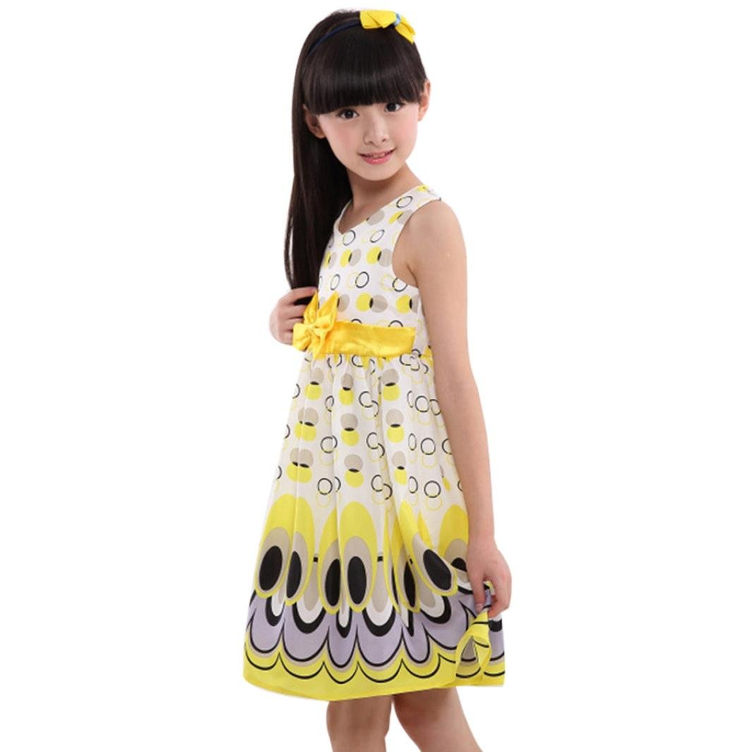 d8aed8d7 Vicbovo Little Girls Sleeveless Dress Peacock Tail Dot Party Princess Dress  Kids Toddler Baby Summer Clothes: Home Audio & Theater