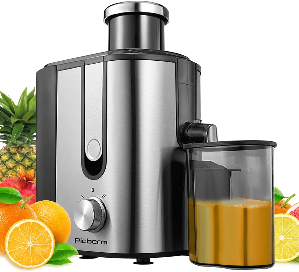 Juicer, Picberm Centrifugal Juicer Machines Easy to Clean, Wide Feed Chute Juice Extractor with Brush & Recipes for Fruits and Vegetables, Dual Speed Stainless Steel BPA-Free Anti-drip Juicers Dishwasher Safe, 600 W