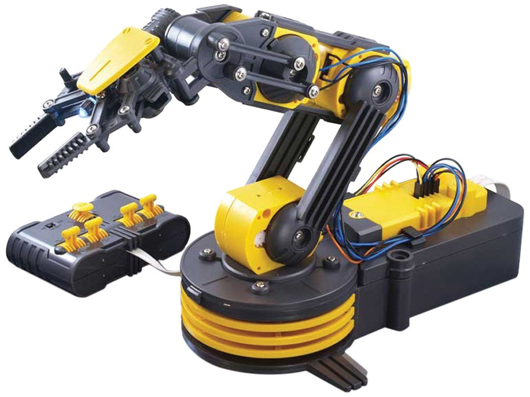 It is an image of robotic arm in yellow and black color.