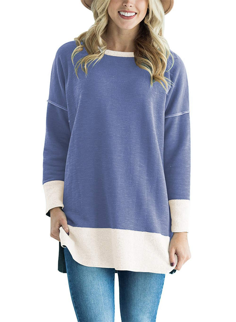 ChangNing Women's Casual Long Sleeve Tunic Tops Loose Color Block Sweatshirt Pullover Blouse with Side Slit