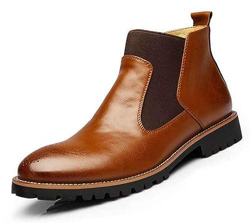 Botas Chelsea Botines de Piel para Hombre Italiano Estilo Elegante y Casual Retro Concesionario Mid Tobillo Zapatos De Boda De Zapatos De Vestir De Negocios ...
